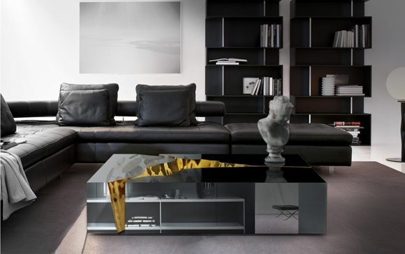 Luxury design meets modern art, modern coffee table, luxury coffee table, goldern interior, polished brass details, luxury design, artwork, News, Basel Shows  Luxury design meets modern art: Lapiaz center table Luxury design meets modern art Lapiaz center table