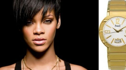 Rihanna - Piaget  Top 7 Celebrities With the Most Expensive Swiss Watches rihanna watches 480x267