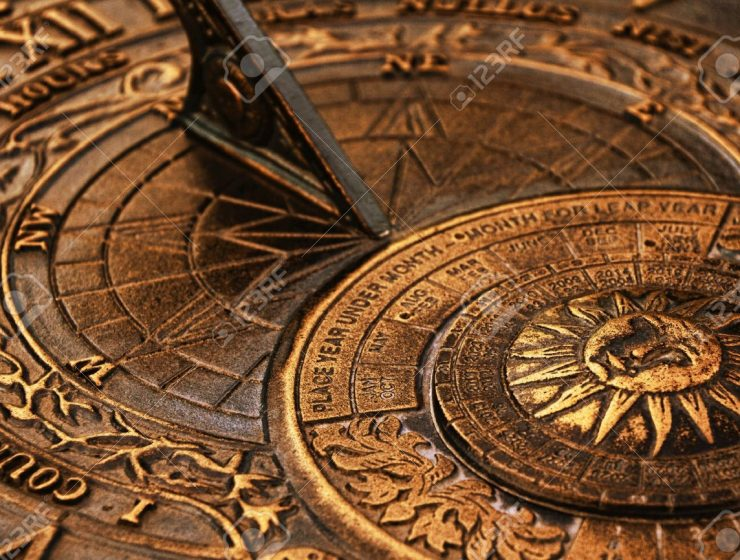 Surface-of-old-copper-sundial  The Chronology Through the Ages Surface of old copper sundial1 740x560