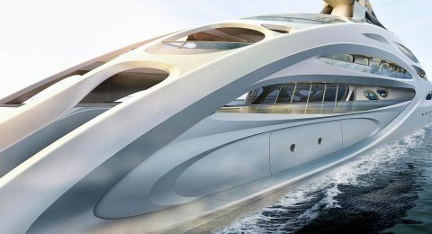 Zaha Hadid Superyacht Limited Edition: Zaha Hadid Superyacht Project JAZZ ZHA BV Sideview 90m 480x260