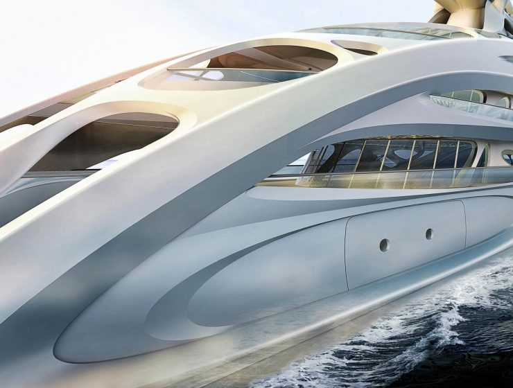 Zaha Hadid Superyacht Limited Edition: Zaha Hadid Superyacht Project JAZZ ZHA BV Sideview 90m 740x560
